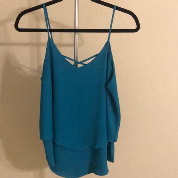 Annabelle Tops - Teal blouse tank top